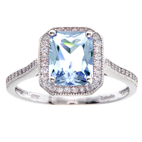 R9682-B - Rhodium blue topaz rectangle ring