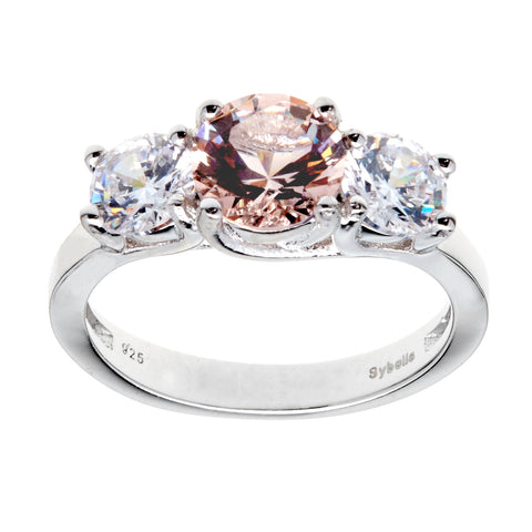 R9916 - 3 x clear cz & morganite rhodium ring