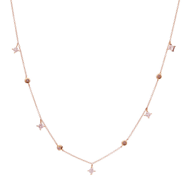 Rose gold trilliant cubic zirconia necklace - N217-RG