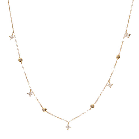 Gold trilliant cubic zirconia necklace - N217-GP
