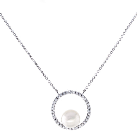 N3939 - Rhodium cz circle of life & freshwater pearl necklace