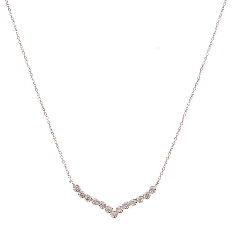 Rhodium and cubic zirconia row necklace - N77-RH
