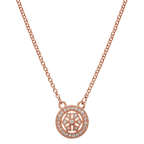 Rose gold and clear cubic zirconia antique necklace - N9449-RG