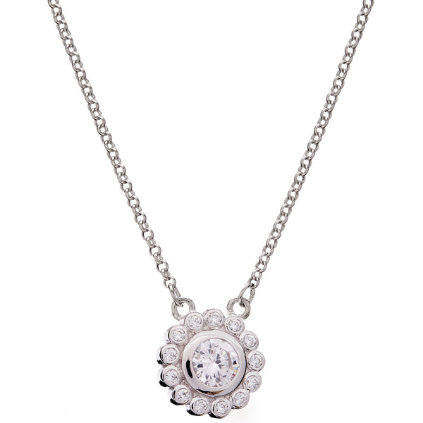 Rhodium and clear cubic zirconia flower necklace - P782-RH
