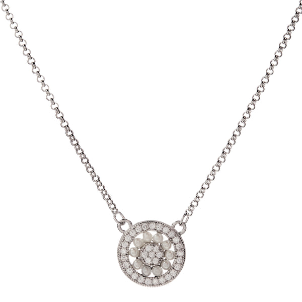 P9451 - Rhodium freshwater seed pearl & cz pendant