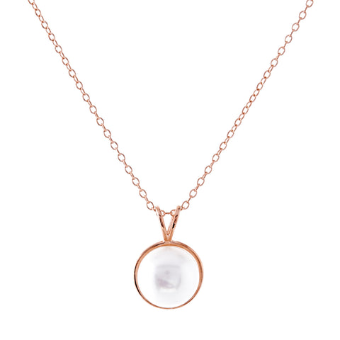 P182-RG - Rose gold freshwater pearl necklace