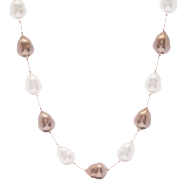 Large baroque pearl tincup necklace - BTNL