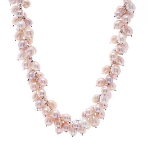 SPECIAL - White & pink rice pearl necklace on rhodium chain with toggle clasp - N2423-P