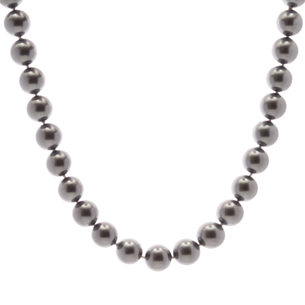 14mm grey pearl necklace with silver cz ball clasp - N212