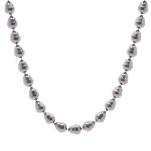 12 x 15mm grey baroque pearl necklace with silver cz ball clasp - N212BAR