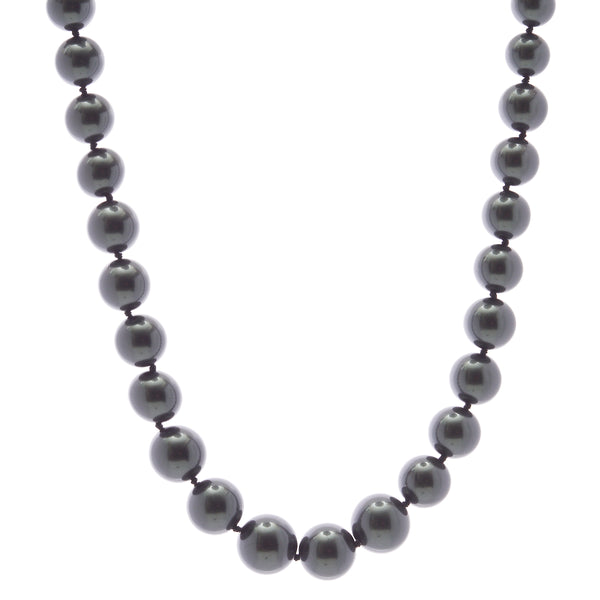 14mm black pearl necklace with silver cz ball clasp - N608