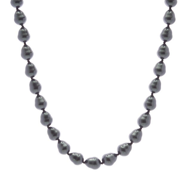 12 x 15mm black baroque pearl necklace with silver cz ball clasp - N608BAR