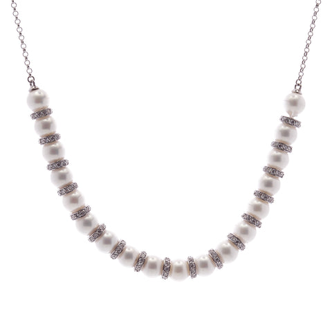 10mm white round pearl & cz toggle necklace - N76
