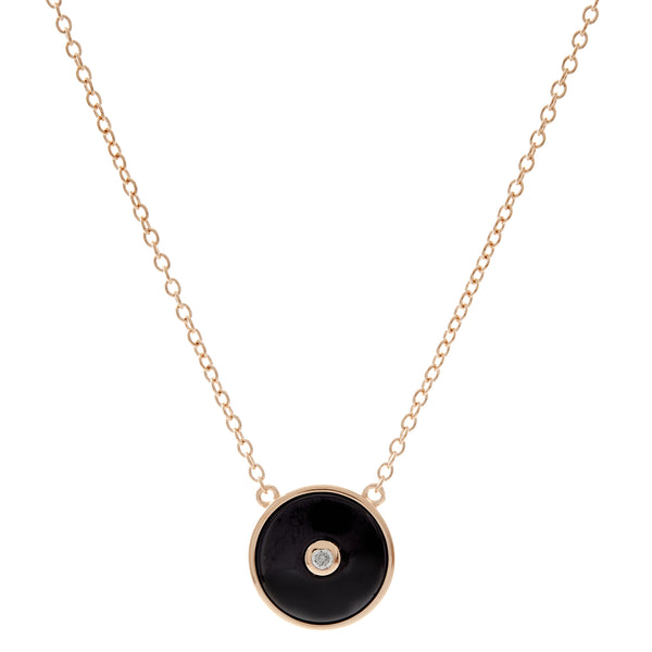N2872-BGP - Black gold plate round cz pendant on fine chain