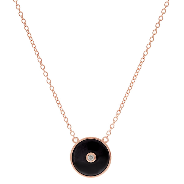 N2872-BRG - Black rose gold plate round cz pendant on fine chain