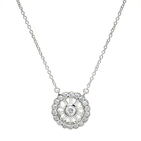 P10392 - Rhodium cz necklace