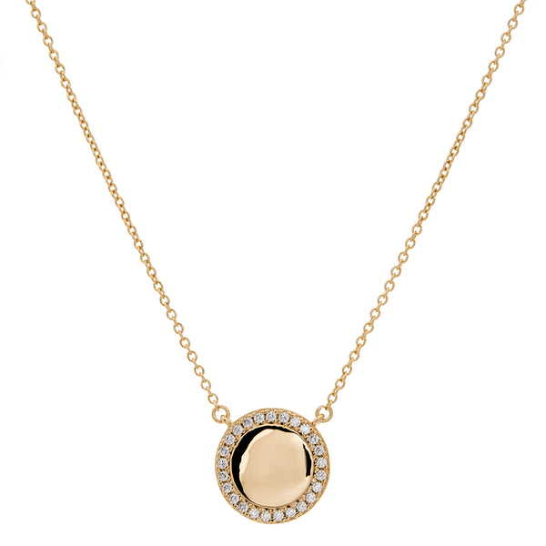 P1127-GP - Gold cz disc necklace