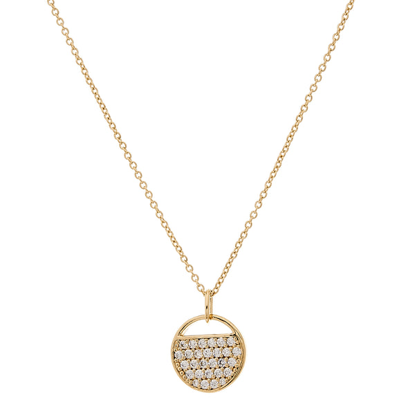N128-GP - Gold round cz tag necklace