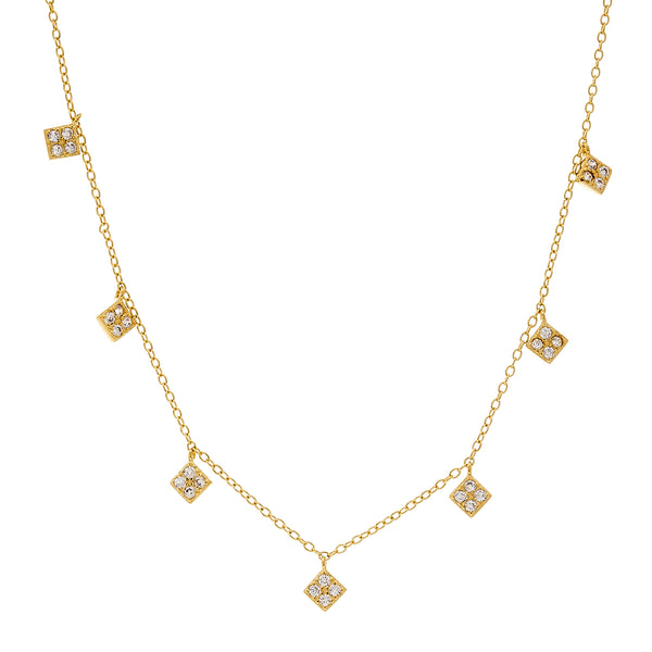 N2018-GP - Hanging diamonds gold necklace
