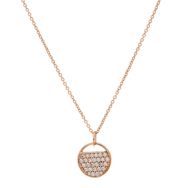 N128-RG - Rose gold round cz tag necklace