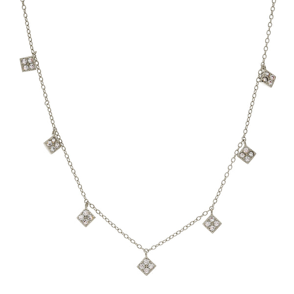 N2018-RH - Hanging diamonds rhodium necklace