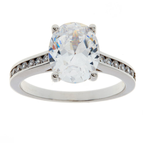 R10003 - Rhodium oval cz ring