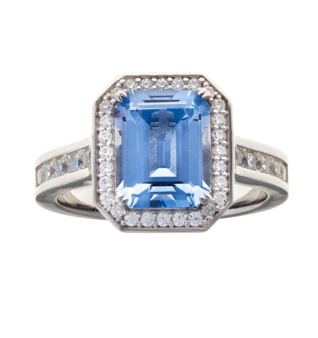 Blue topaz cz rectangle dress ring - R1521-B