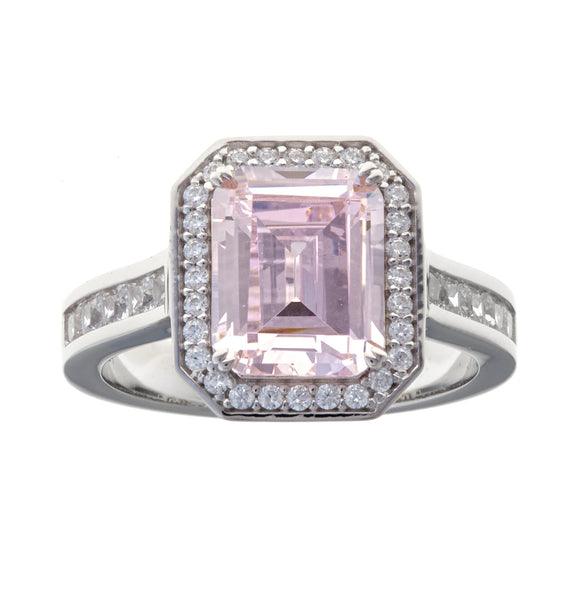 Rectangle pink cz & cz dress ring - R1521-P