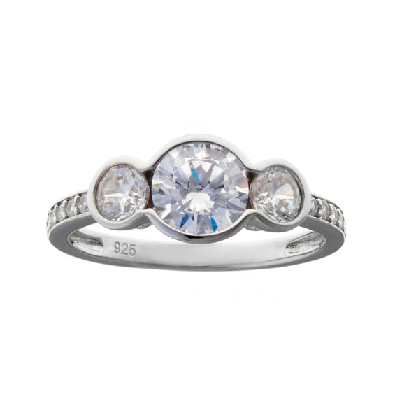 3 bezel cz set ring - R690