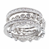 Rhodium 4-piece ring stack - R7073