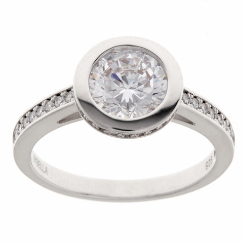 Rhodium bezel set cubic zirconia ring - R8175