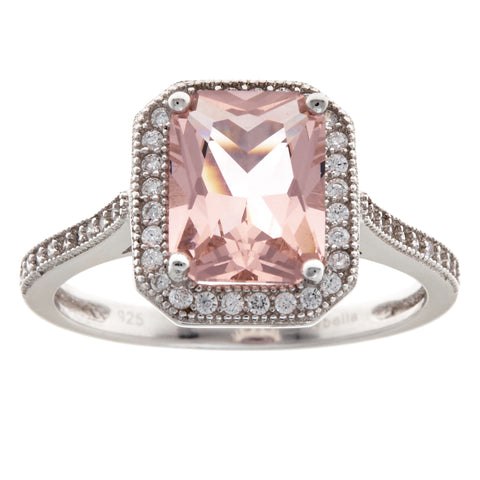 R9682 - Rhodium cubic zirconia & morganite ring