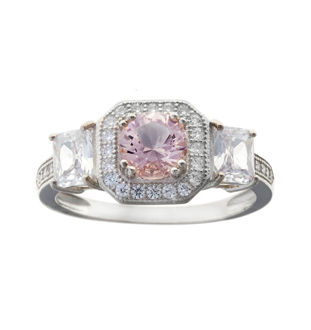 Morganite & clear cz rhodium ring - R991