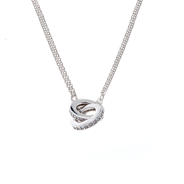 Rhodium interlock cubic zirconia double chain necklace - N7831