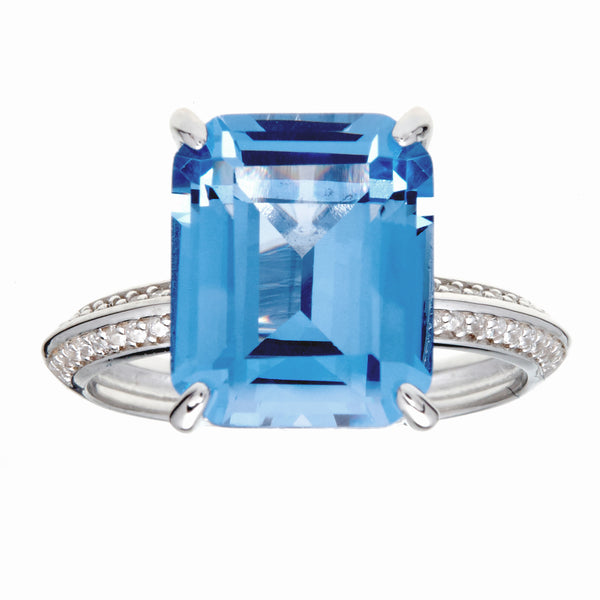 R11743 - Rhodium aqua & white cz ring