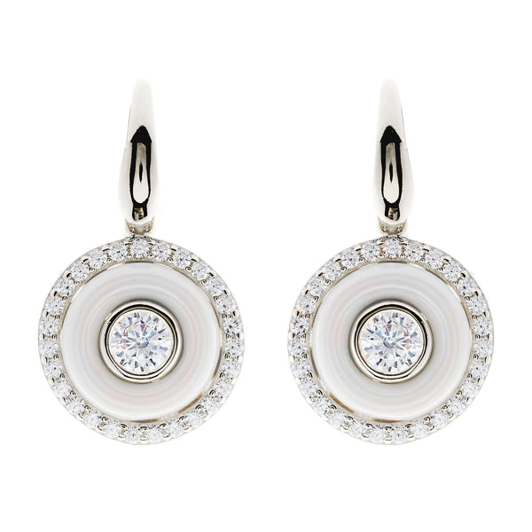 E261-WRH - Rhodium white ceramic and cz earrings