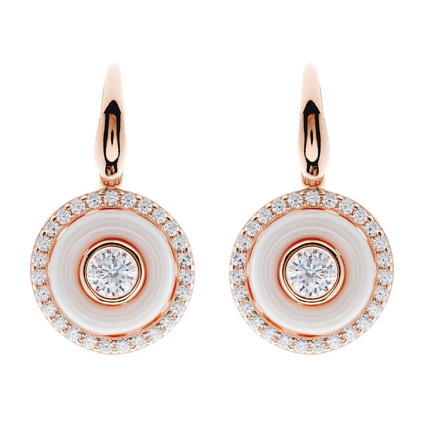 E261-WRG - Rose gold white ceramic and cz earrings