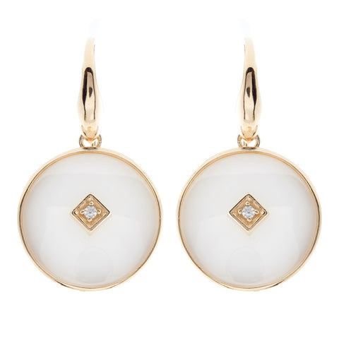 E2664-WGP - Gold & white ceramic with cz centrepiece hook earring
