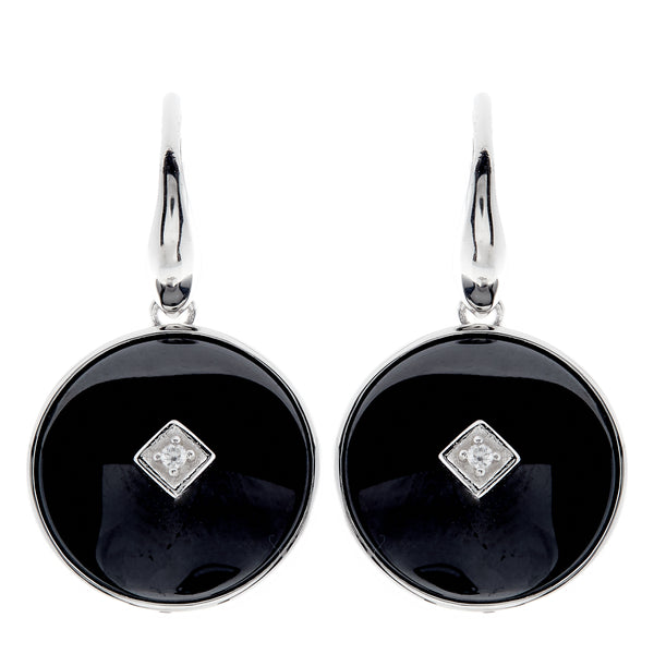 E2664-BRH - Rhodium & black ceramic with cz centrepiece hook earring