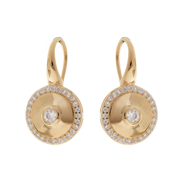 E202-GP - Yellow Gold cz round earrings on french hook