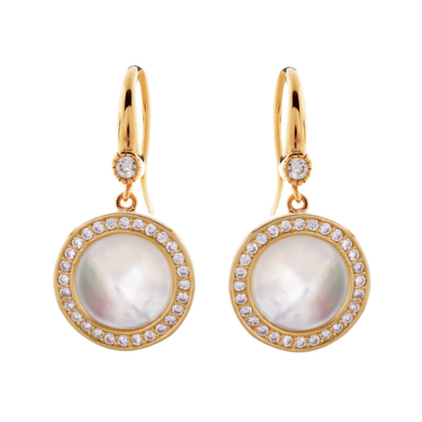 E2019-GP - Yellow gold & white mother pearl & cz earrings