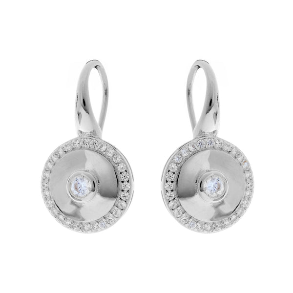 E202-RH - Rhodium cz round earrings on french hook