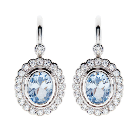E7665-BRH - Rhodium oval & cz topaz earrings