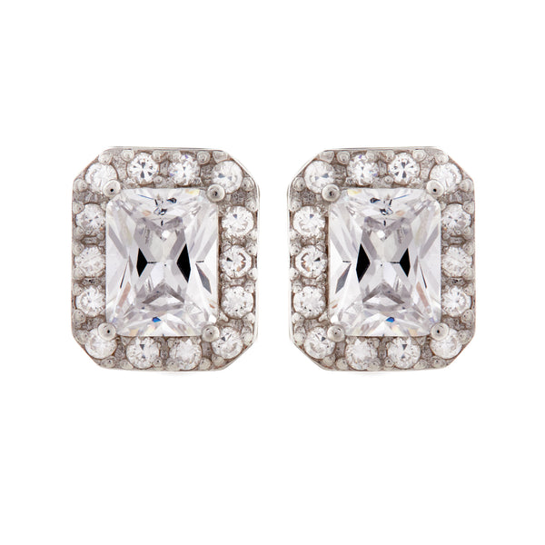 Rhodium rectangle clear cz stud earrings - E722-CZ