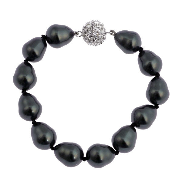 Baroque pearl bracelet with silver cz ball clasp - B608BAR