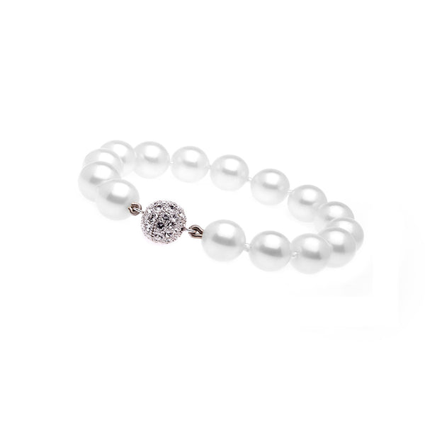 round white pearl bracelet with silver cz ball clasp - B701-SR