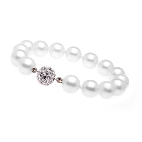 12mm white pearl bracelet with silver cubic zirconia ball clasp - B701