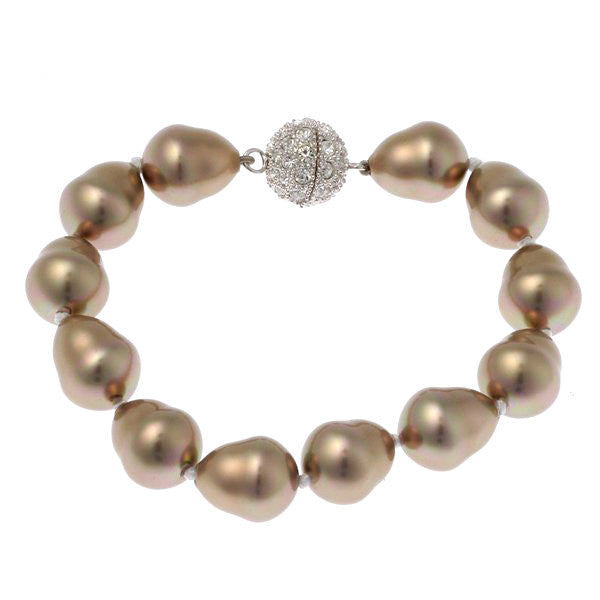 Baroque pearl bracelet with silver cz ball clasp - B712BAR