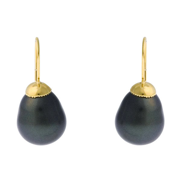 Black baroque pearl earrings on french hook - E-608GP