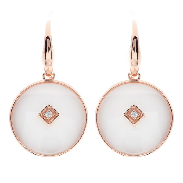 E2664-WRG - Rose Gold & white ceramic with cz centrepiece hook earring